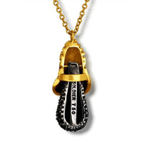 Gold Acorn Pendant with Black Diamonds on Chain