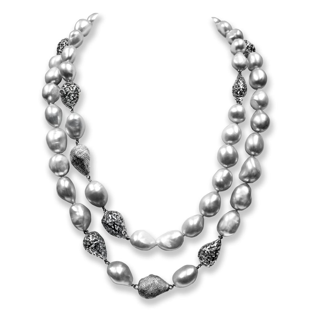 Silver Meteorite Necklace with White Pearls
