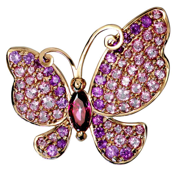 Gold Butterfly Pin, Pendant with Pink Topaz & Sapphires