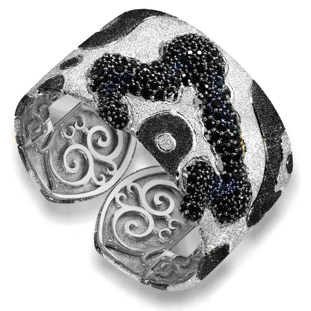 Silver Cora Pattern Cuff Bracelet with Black Spinel