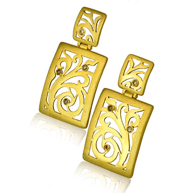 Gold Ornament Contrast Texture Champagne Diamonds Drop Earrings