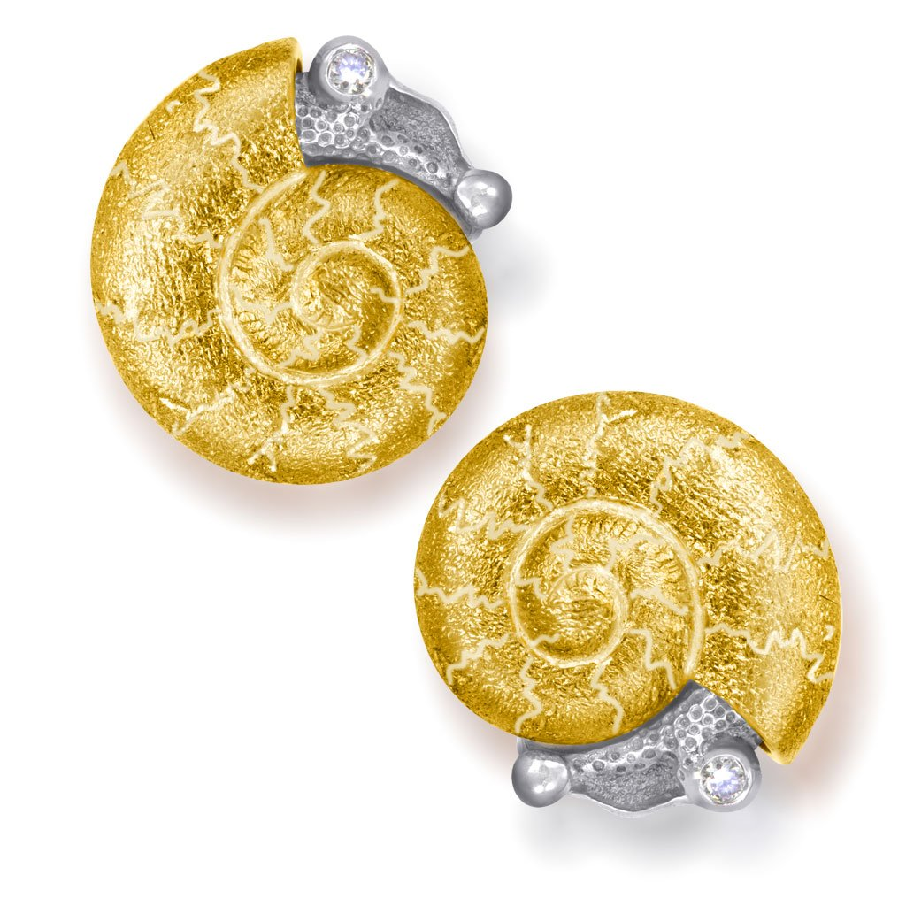 Gold Baby Snail Earrings with White Diamonds