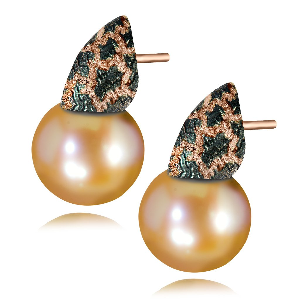 Gold Earrings with Freshwater Peach Pearls