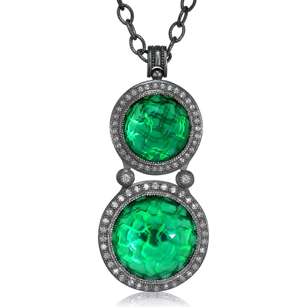 Silver Symbolica Pendant with Green Agate & Topaz