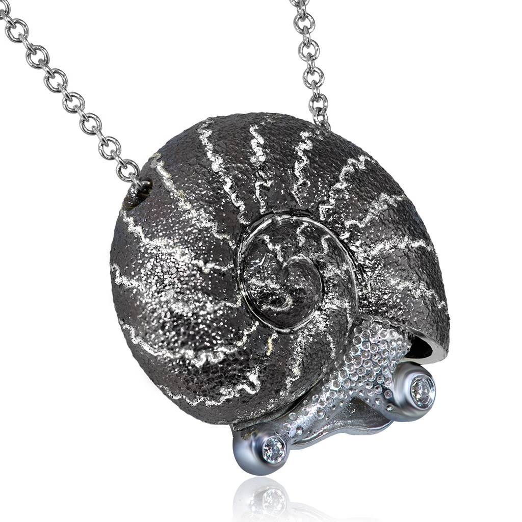 Silver Little Snail Pendant with Diamonds On Chain