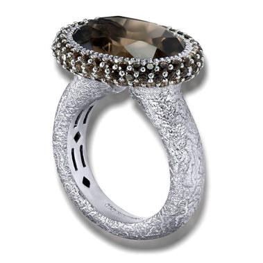 Smoky Quartz Cocktail Ring In White Gold