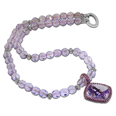 Rose De France Amethyst And Lavender Garnets Royal Necklace In White Gold