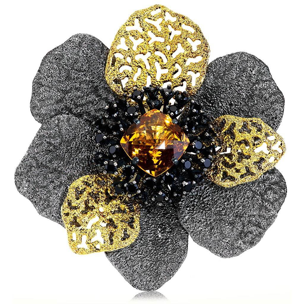 Silver Coronaria Brooch/Pendant with Spinel & Citrine