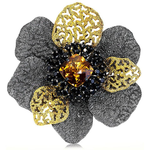 CITRINE AND BLACK SPINEL CORONARIA BROOCH PENDANT IN SILVER AND GOLD