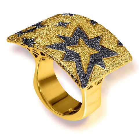 STERLING SILVER GOLD PLATINUM STAR RING