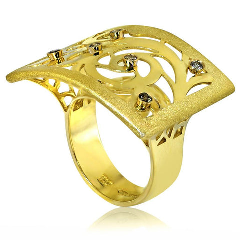 GOLD AND CHAMPAGNE DIAMONDS ORNAMENT RING WITH CONTRAST TEXTURE