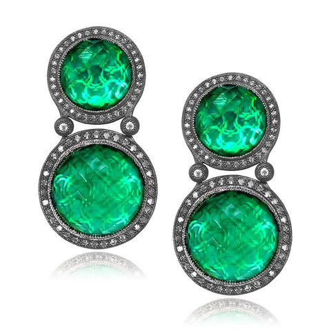 GREEN AGATE, WHITE QUARTZ DOUBLET WITH WHITE TOPAZ SYMBOLICA EARRINGS IN OXIDIZED SILVER