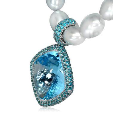 Blue Paraiba Topaz Pearl Gold Royal Pendant Necklace