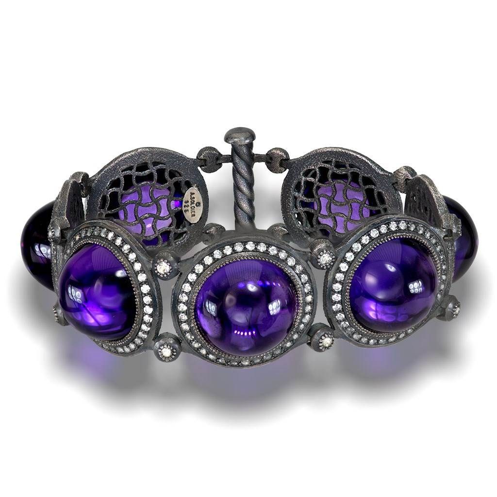 Japanese Amethyst And White Topaz Symbolica Bracelet In Oxidized Silver