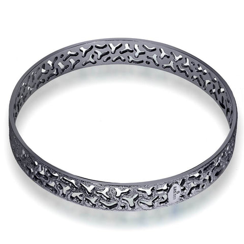 Sterling Silver and Dark Platinum Bangle