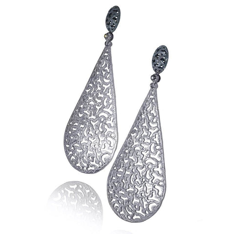 Festive Drop Earrings in White Gold  and Rhodium with Black Diamond Accents