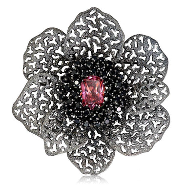 Swarovski Pink Crystal And Black Spinel Coronaria Brooch Pendant In Dark Silver