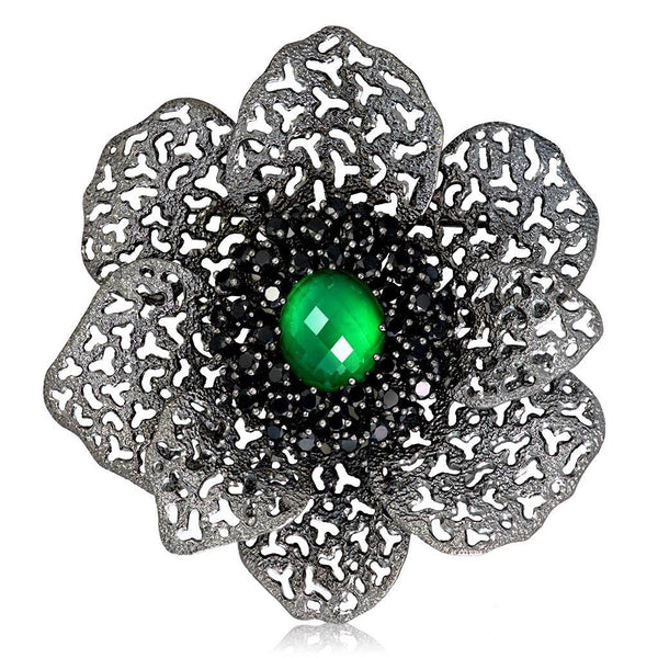 Silver Coronaria Brooch/Pendant with Oval Green Agate