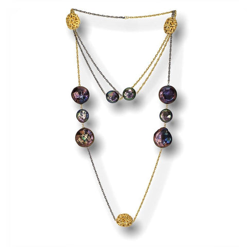 Pearl Moneta Necklace in 14 Karat Yellow Gold