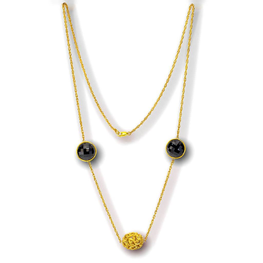 14 Karat Yellow Gold Moneta Necklace with Black Onyx