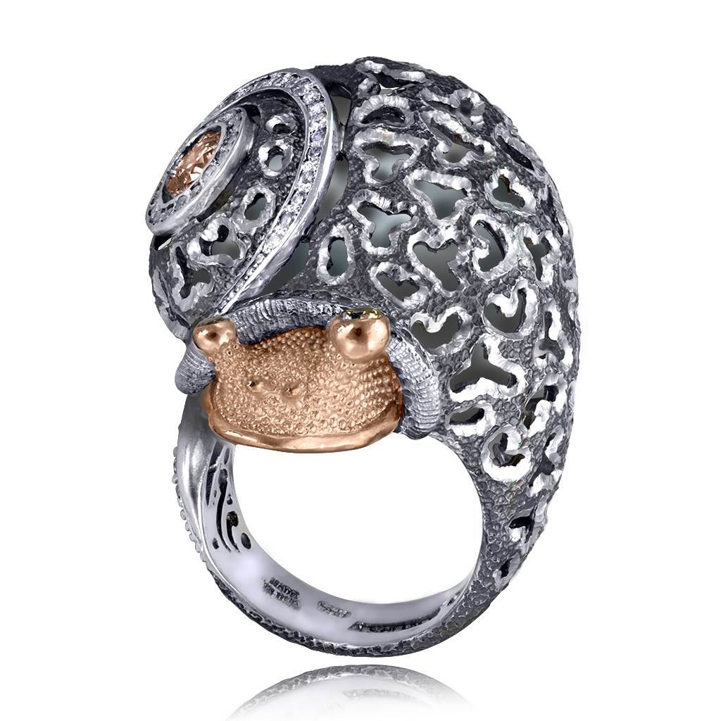 Silver & Gold Codi The Snail Ring with Diamonds