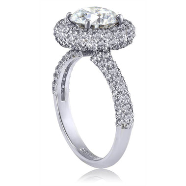 Stardust Diamond Halo Crescent Engagement Ring