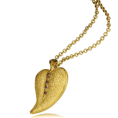 CHAMPAGNE DIAMONDS AND YELLOW GOLD LEAF PENDANT
