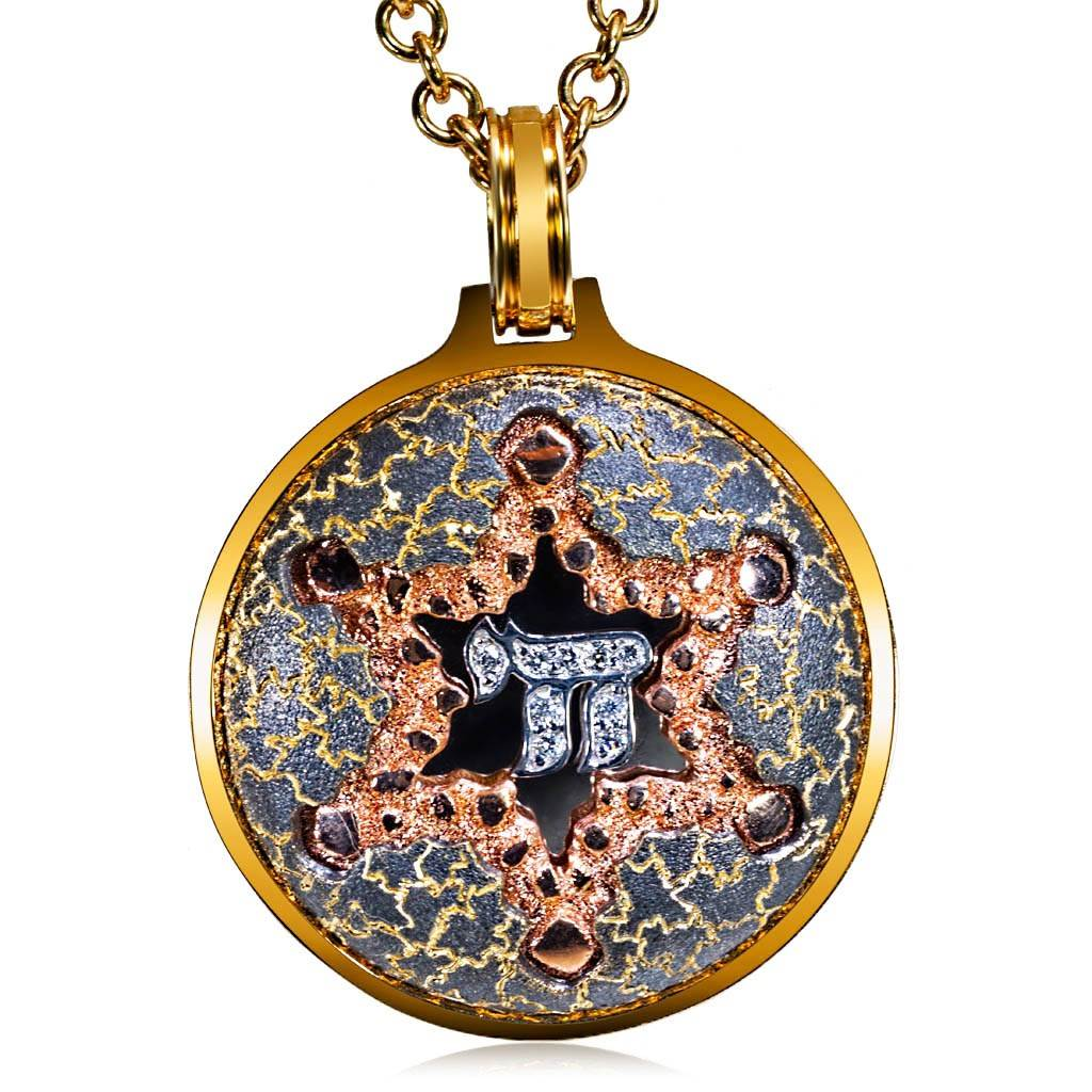 religious symbol pave micro product pendant hiphop cubic stainless wholesale gold plated cz steel necklaces pendants zirconia chai