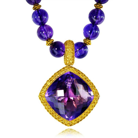 AMETHYST AND YELLOW SAPPHIRE ROYAL NECKLACE PENDANT IN YELLOW GOLD