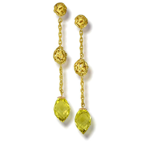 Lemon Citrine and Gold Meteorite Drop Earrings