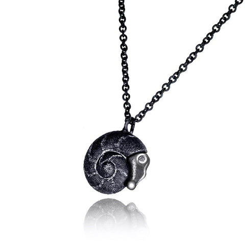 DIAMOND AND SILVER BABY SNAIL PENDANT ON CHAIN