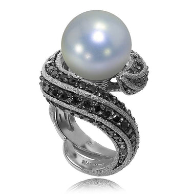 White Gold Twist Ring With Freshwater Pearl And Black Diamonds