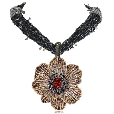 Mandarin Garnet Diamond Rose Gold Coronaria Necklace Pendant
