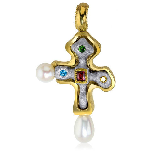 PEARL, GARNET, CTIRINE AND CHROME DIOPSIDE BYZANTINE CROSS IN STERLING SILVER, GOLD AND PLATINUM