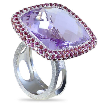 Rose De France Amethyst And Lavender Garnets Royal Ring In White Gold