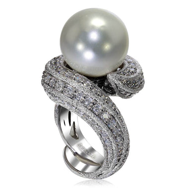 White Gold Twist Ring With Freshwater Pearl And White Diamonds