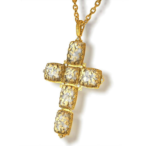 GRAND CROSS PENDANT NECKLACE WITH 24 KARAT GOLD INFUSED QUARTZ