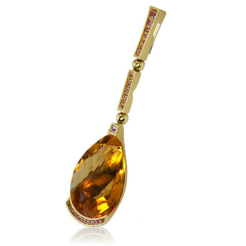 HONEY CITRINE AND PINK SAPPHIRES YELLOW GOLD SWAN PENDANT