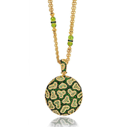 CHROME DIOPSIDE, PERIDOT, AND DIAMOND FINE LACE PENDANT IN YELLOW GOLD