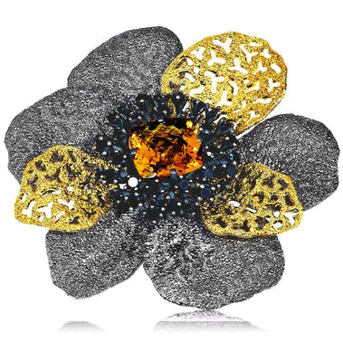 Sterling Silver Coronaria Brooch Pendant with Citrine And Black Spinel