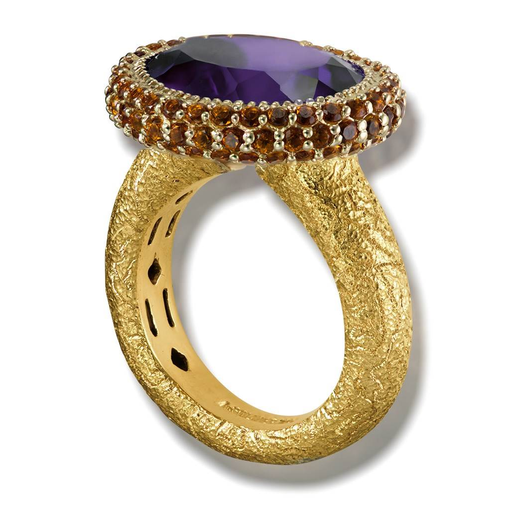 Gold Cocktail Ring with Amethyst & Madeira Citrine