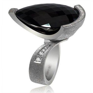 Onyx Diamond White Gold Swan Ring
