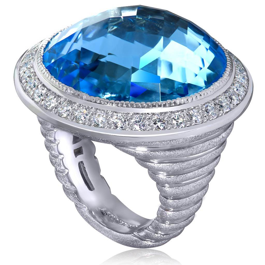 Gold Symbolica Ring with Blue Topaz & White Diamonds