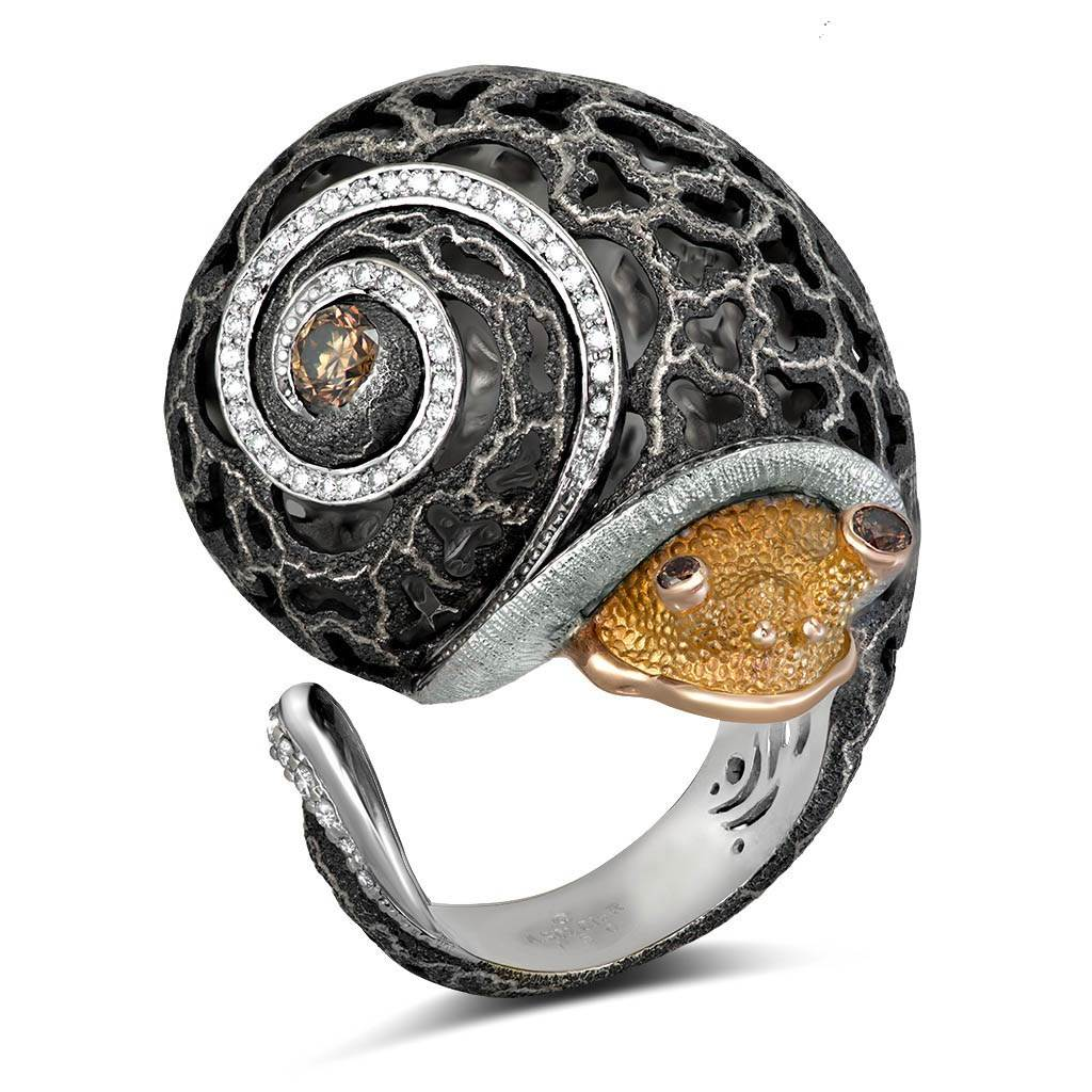 Gold Grand Codi The Snail Ring with Diamonds