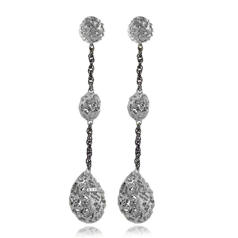 Sterling Silver and Platinum Long Meteorite Drop Earrings