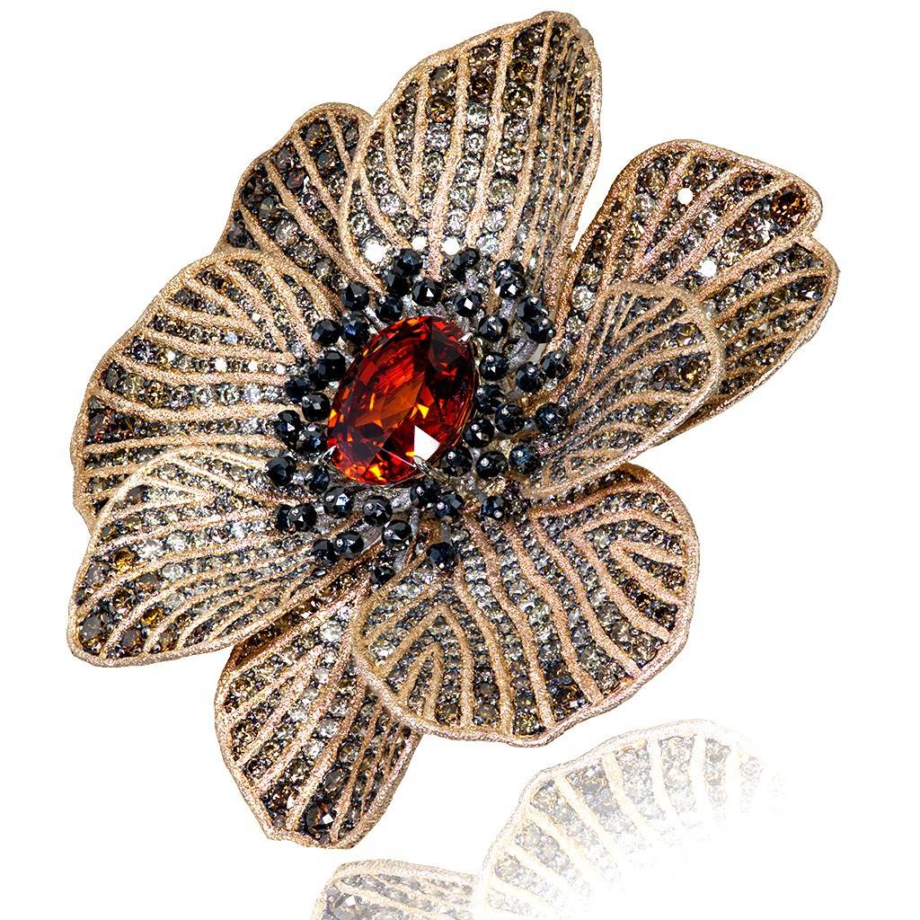Gold Coronaria Brooch with Mandarin Garnet & Diamonds