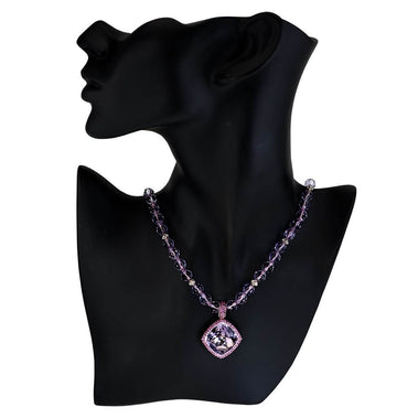 Gold Rose De France Amethyst Bead Necklace