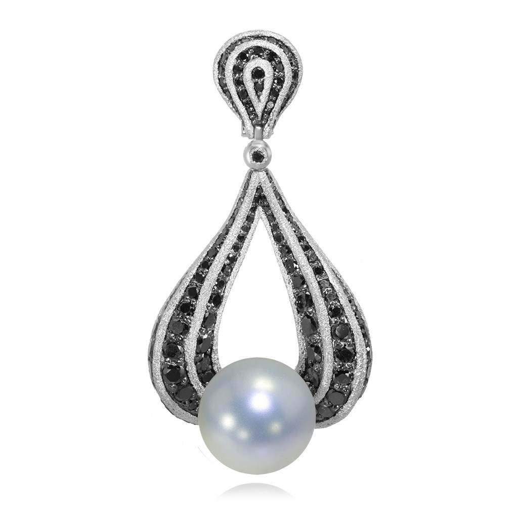 WHITE GOLD TWIST PENDANT WITH FRESHWATER PEARL AND BLACK DIAMONDS