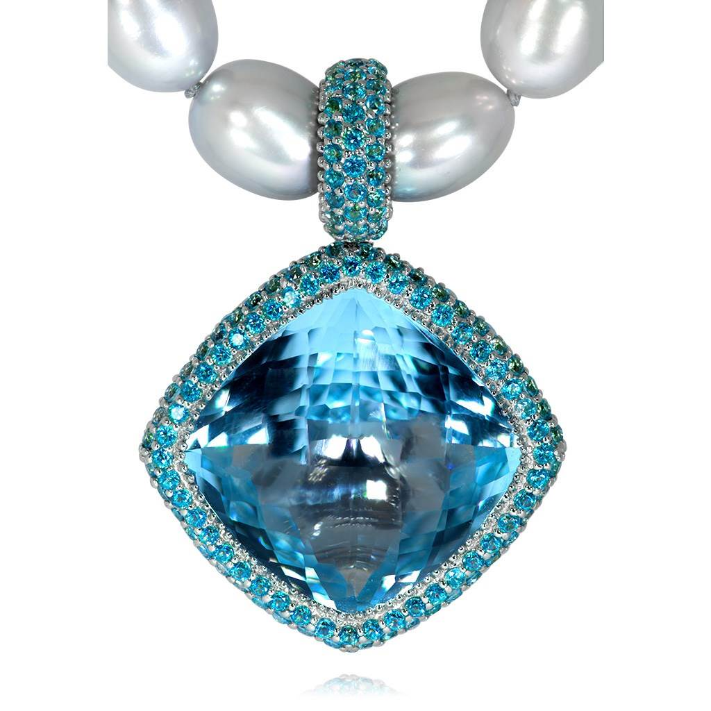 Gold Royal Pendant/Necklace with Paraiba Topaz & Pearls