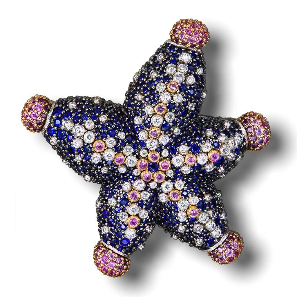 DIAMOND, BLUE AND PINK SAPPHIRE STARFISH BROOCH IN ROSE AND WHITE GOLD